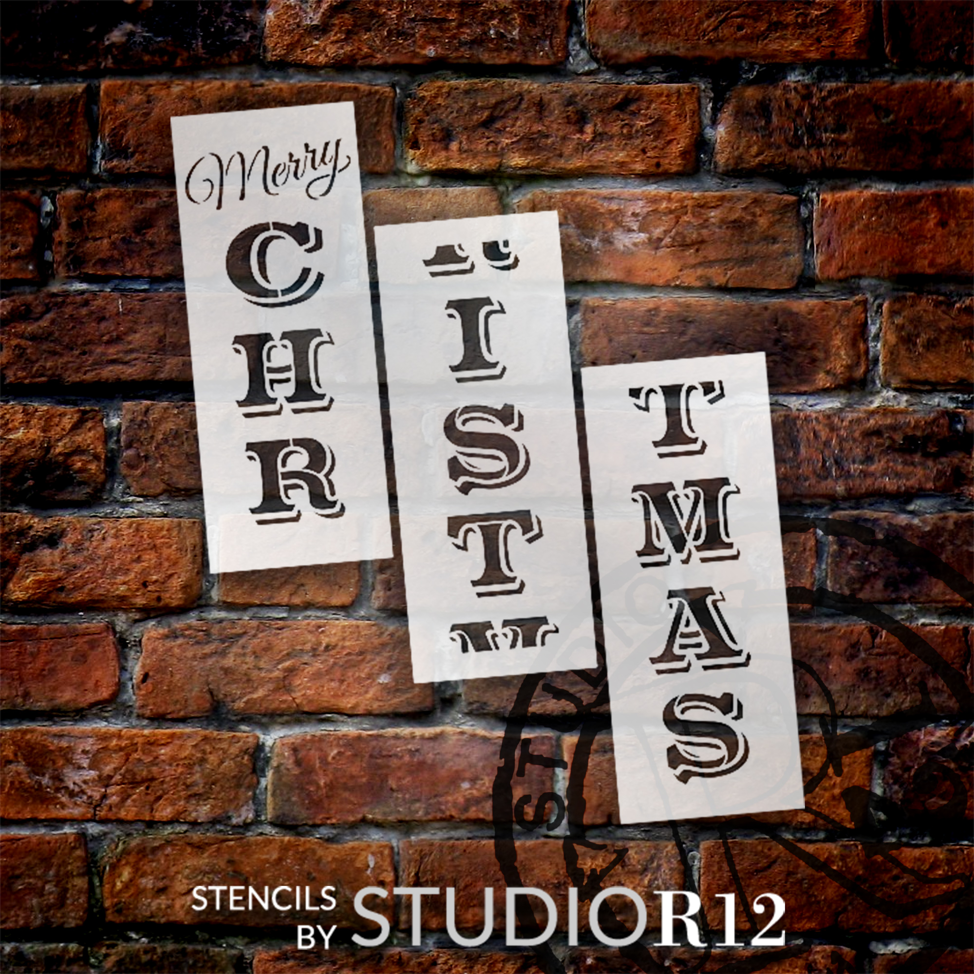 Merry Christmas Tall Porch Stencil by StudioR12   3 Piece   DIY Large Vertical Winter Holiday Home Decor   Front Door Entryway   Craft & Paint Wood Leaner Signs   Reusable Mylar Template   Size 6ft