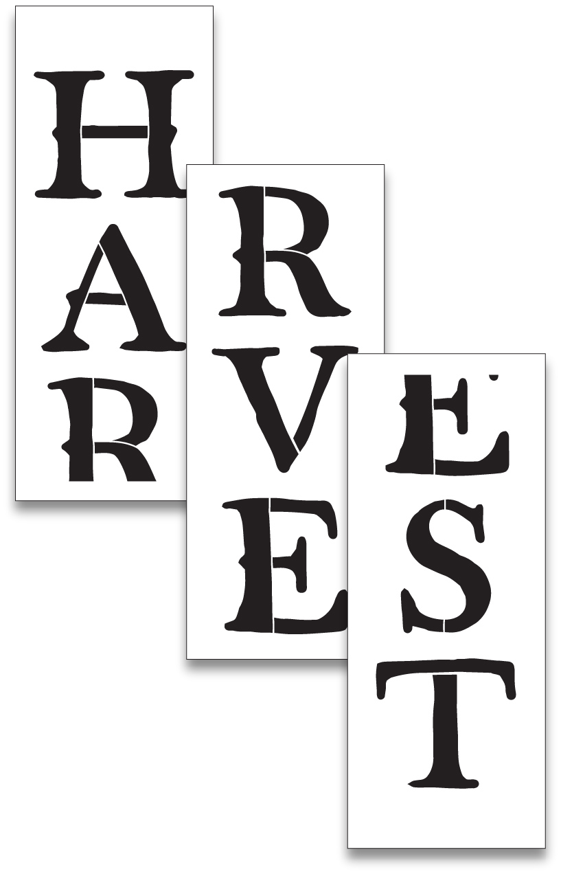 Harvest Tall Porch Stencil by StudioR12 | 3 Piece | DIY Large Vertical Fall Outdoor Home Decor | Front Door Entryway | Craft & Paint Autumn Wood Leaner Signs | Reusable Mylar Template | Size 6ft