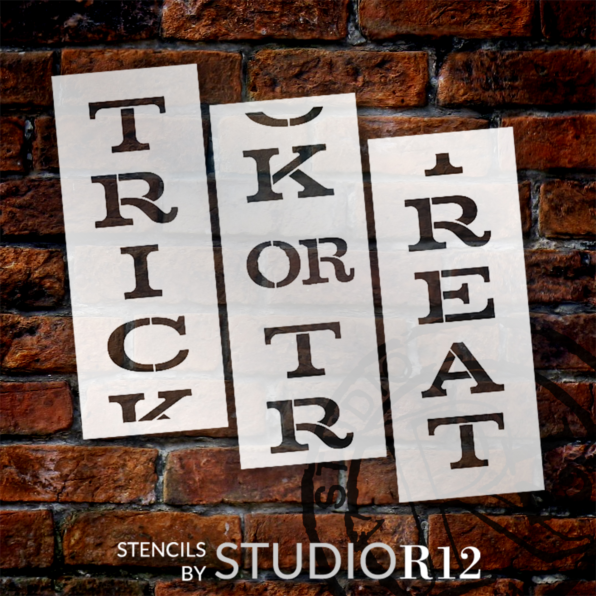 Trick or Treat Tall Porch Stencil by Studio R12 | 3 Piece | DIY Large Vertical Halloween Outdoor Home Decor for Entryway | Craft & Paint Fall Wood Leaner Signs | Reusable Mylar Template | Size 6ft