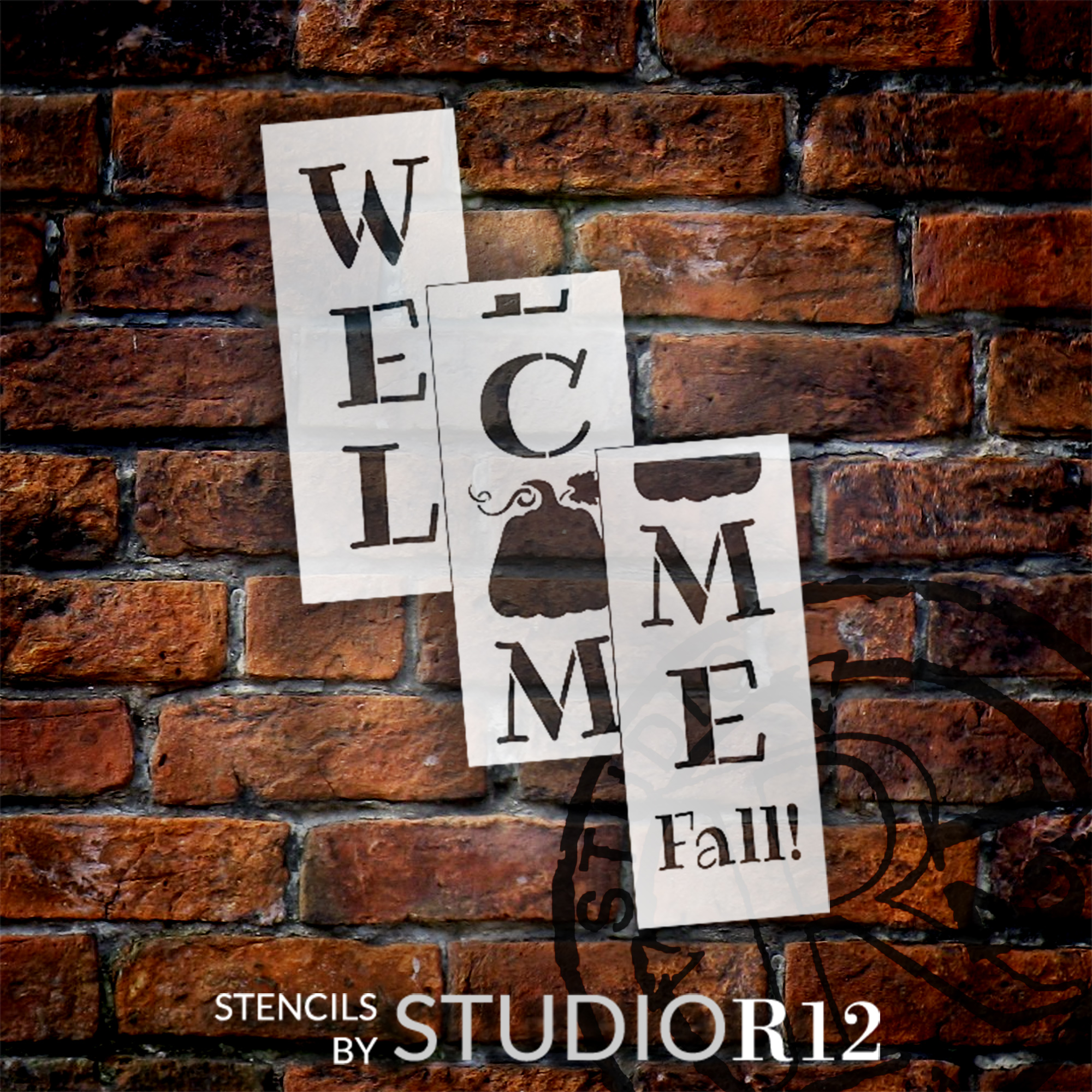 Welcome Fall Tall Porch Stencil with Pumpkin by StudioR12 | 3 Piece | DIY Large Vertical Autumn Home Decor | Front Door Entryway | Craft & Paint Wood Leaner Signs | Reusable Mylar Template | Size 6ft