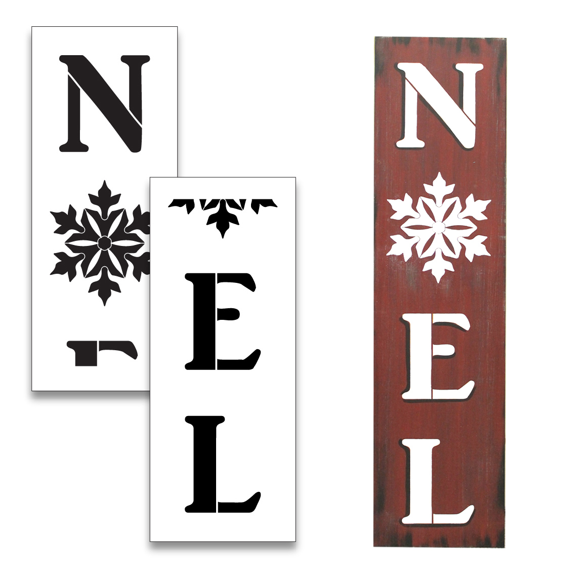 Noel Tall Porch Stencil with Snowflakes by StudioR12 | 2 Piece | DIY Large Vertical Christmas Holiday Home Decor | Craft & Paint Winter Wood Leaner Signs | Reusable Mylar Template | Size 4ft