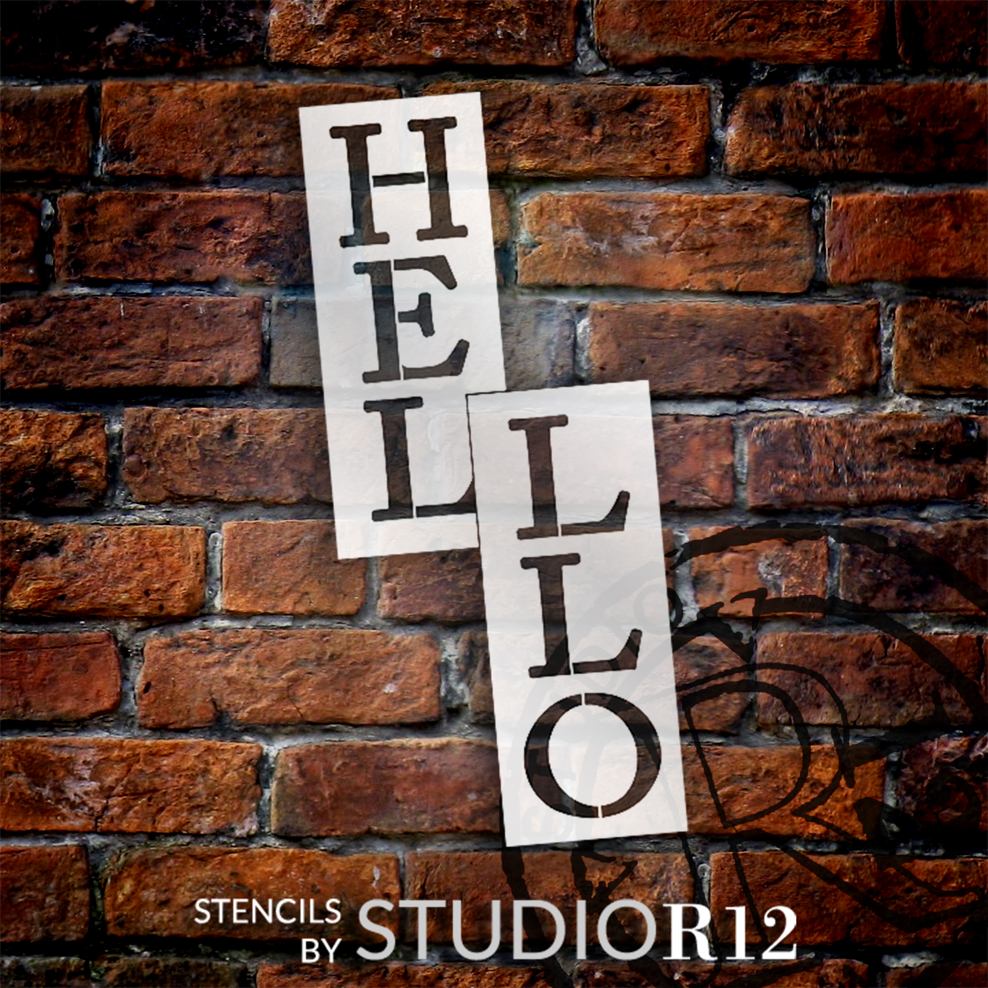 Hello Tall Porch Stencil by StudioR12 | 2 Piece | DIY Large Vertical Outdoor Welcome Home Decor | Front Door or Entryway | Craft & Paint Wood Leaner Signs | Reusable Mylar Template | Size 4ft