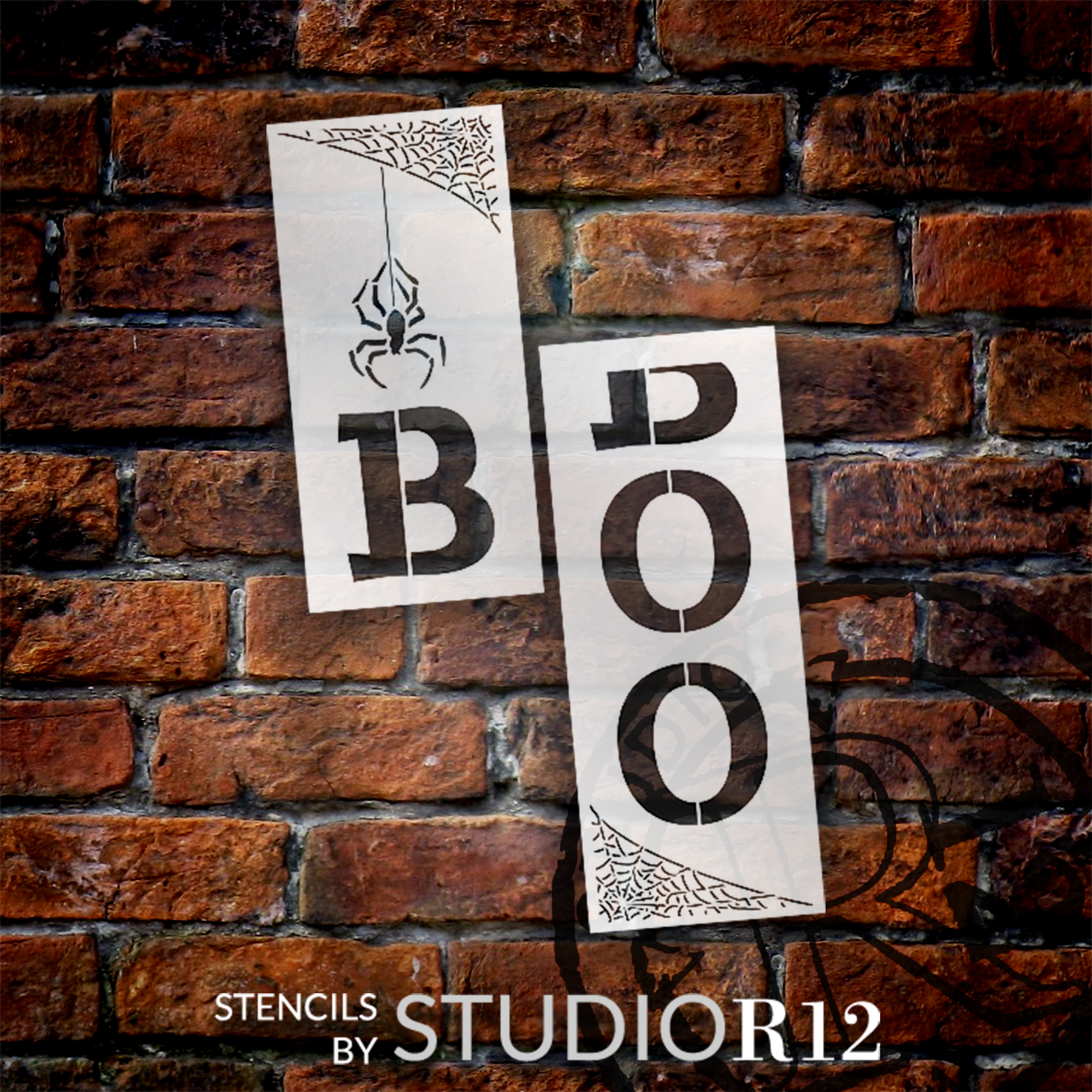 Boo Tall Porch Stencil with Spider Web by StudioR12 | 2 Piece | DIY Large Vertical Fun Halloween Home Decor | Front Door Entryway | Craft & Paint Wood Leaner Signs | Reusable Mylar Template | Size 4ft