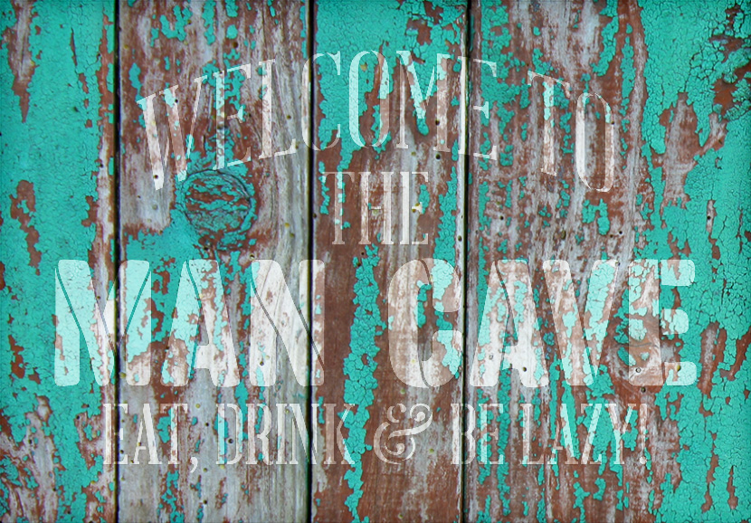 "Welcome - Man Cave - Word Stencil - 12"" x 8"" - STCL1890_1 - by StudioR12"