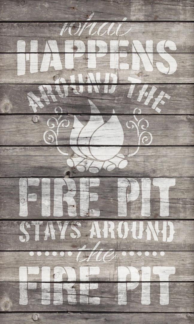 """Fire Pit - Word Art Stencil - 12"""" x 19"""" - STCL1891_2 - by StudioR12"""