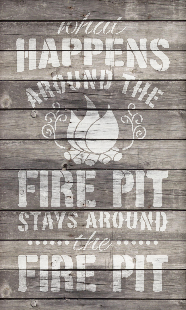 "Fire Pit - Word Art Stencil - 14"" x 22"" - STCL1891_3 - by StudioR12"