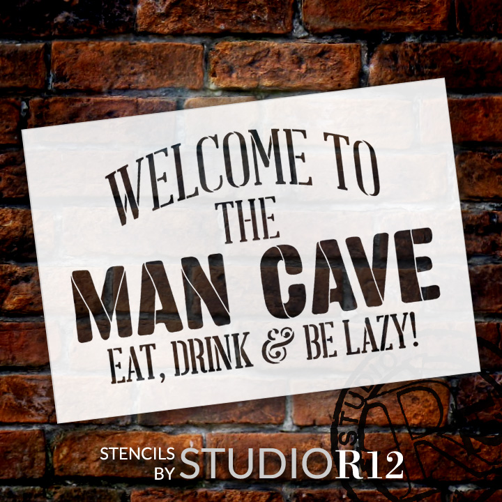 "Welcome - Man Cave - Word Stencil - 18"" x 13"" - STCL1890_3 - by StudioR12"