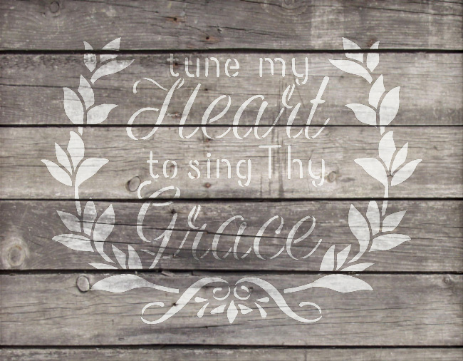 "Tune My Heart - Wreath - Word Art Stencil - 9"" x 7"" - STCL1888_1 - by StudioR12"