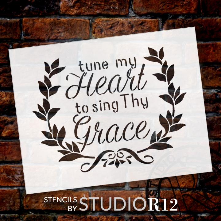 "Tune My Heart - Wreath - Word Art Stencil - 12"" x 10"" - STCL1888_2 - by StudioR12"