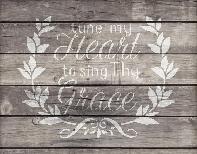 "Tune My Heart - Wreath - Word Art Stencil - 21"" x 16"" - STCL1888_5 - by StudioR12"