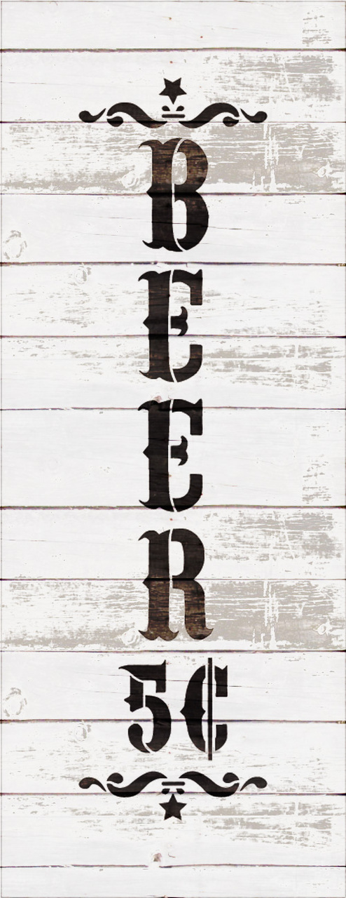 "Beer - Decorative Vertical - Word Art Stencil - 5"" x 13"" - STCL1887_1 - by StudioR12"