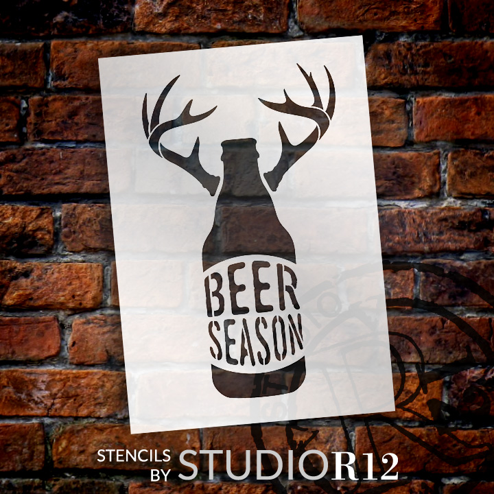 "Beer Season - Bottle With Antlers - Word Art Stencil - 10"" x 15"" - STCL1883_2 - by StudioR12"