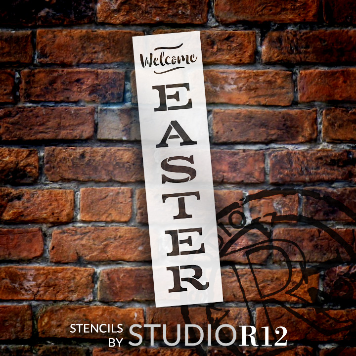 "Welcome Easter - Vertical - Word Stencil - 4"" x 16"" - STCL1877_1 - by StudioR12"