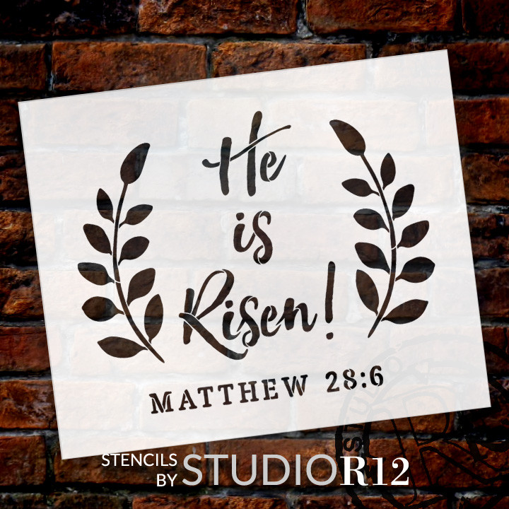 "He Is Risen - Wreath - Word Art Stencil - 24"" x 19"" - STCL1875_4 - by StudioR12"