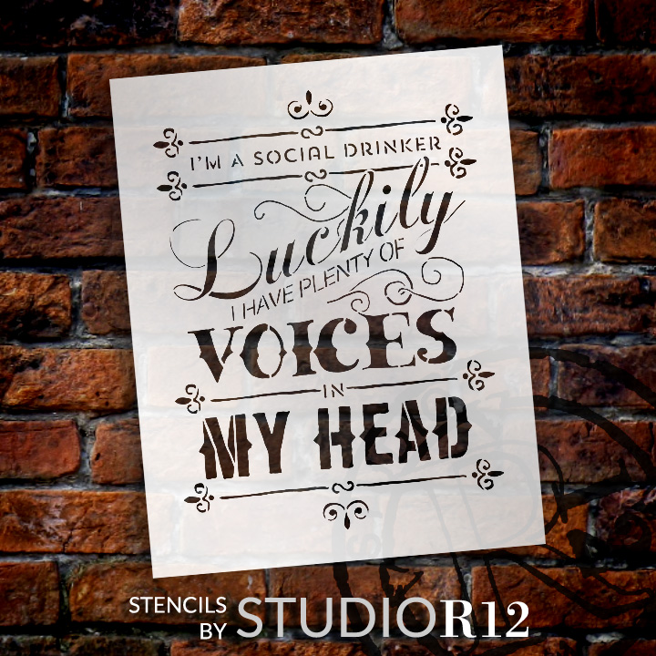 "Social Drinker - Word Stencil - 20"" x 30"" - STCL654_4 - by StudioR12"