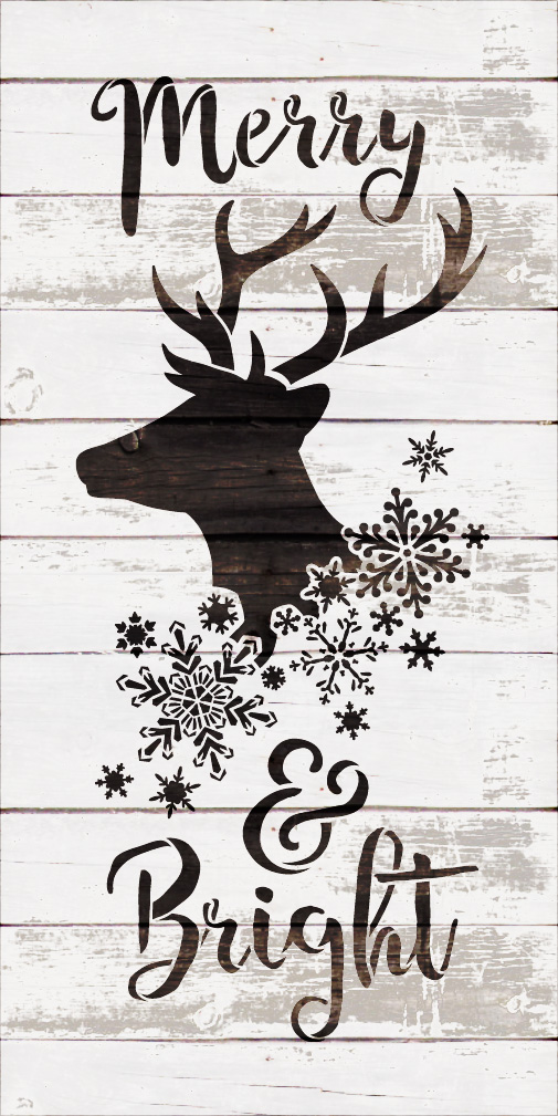 "Merry & Bright - Reindeer and Snowflake - Word Art Stencil - 9"" x 18"" - STCL2026_2 - by StudioR12"