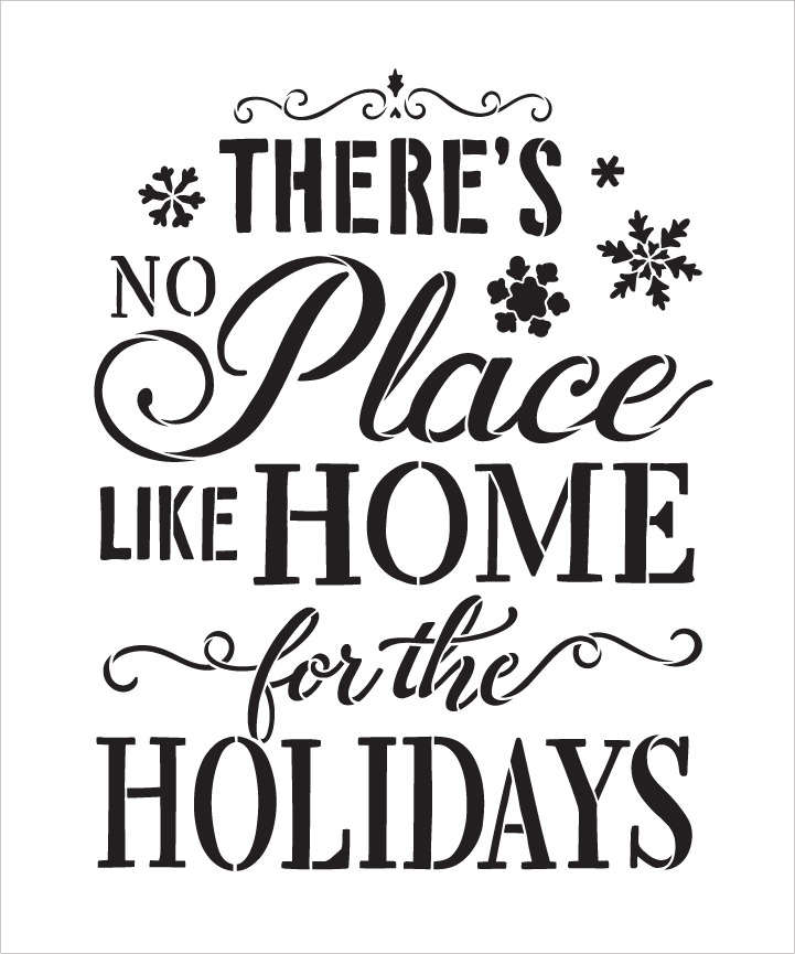 """Home For The Holidays - Elegant - Word Art Stencil - 13"""" x 16"""" - STCL2028_2 - by StudioR12"""