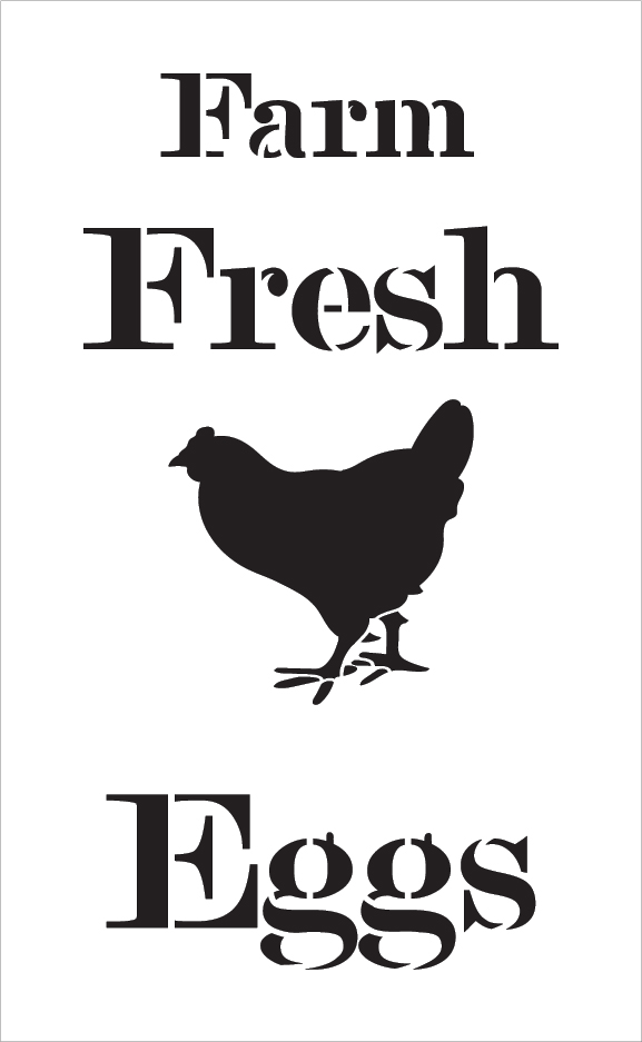 "Farm Fresh Eggs - Chicken - Serif - Word Art Stencil - 14"" x 24"" - STCL2057_4 - by StudioR12"