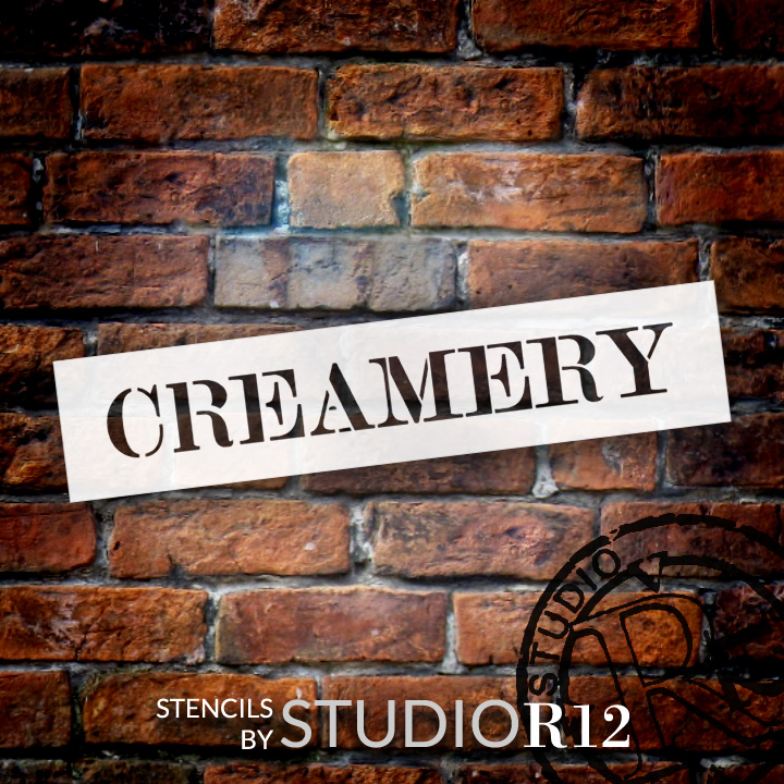 "Creamery - Skinny Serif - Word Stencil - 14"" x 3"" - STCL2058_1 - by StudioR12"