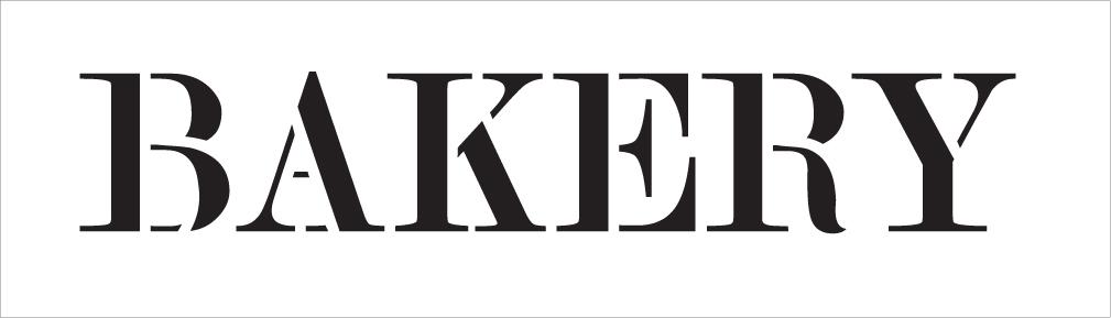 "Bakery - Skinny Serif - Word Stencil - 24"" x 7"" - STCL2059_4 - by StudioR12"