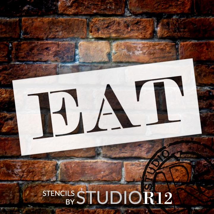 "Eat - Skinny Serif - Word Stencil - 30"" x 11"" - STCL2061_5 - by StudioR12"