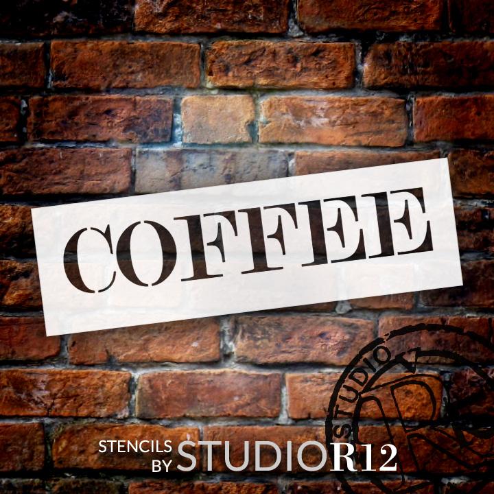 "Coffee - Skinny Serif - Word Stencil - 13"" x 4"" - STCL2062_1 - by StudioR12"