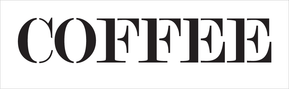 "Coffee - Skinny Serif - Word Stencil - 20"" x 6"" - STCL2062_3 - by StudioR12"