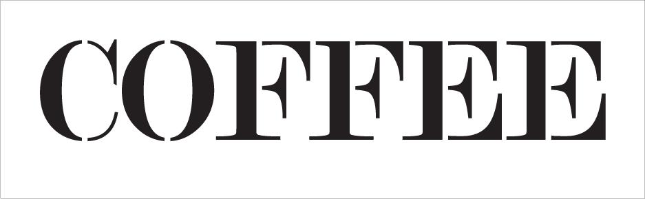 "Coffee - Skinny Serif - Word Stencil - 30"" x 8"" - STCL2062_5 - by StudioR12"
