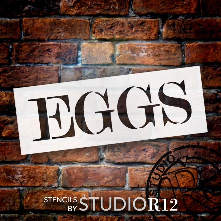 "Eggs - Skinny Serif - Word Stencil - 20"" x 7"" - STCL2063_3 - by StudioR12"