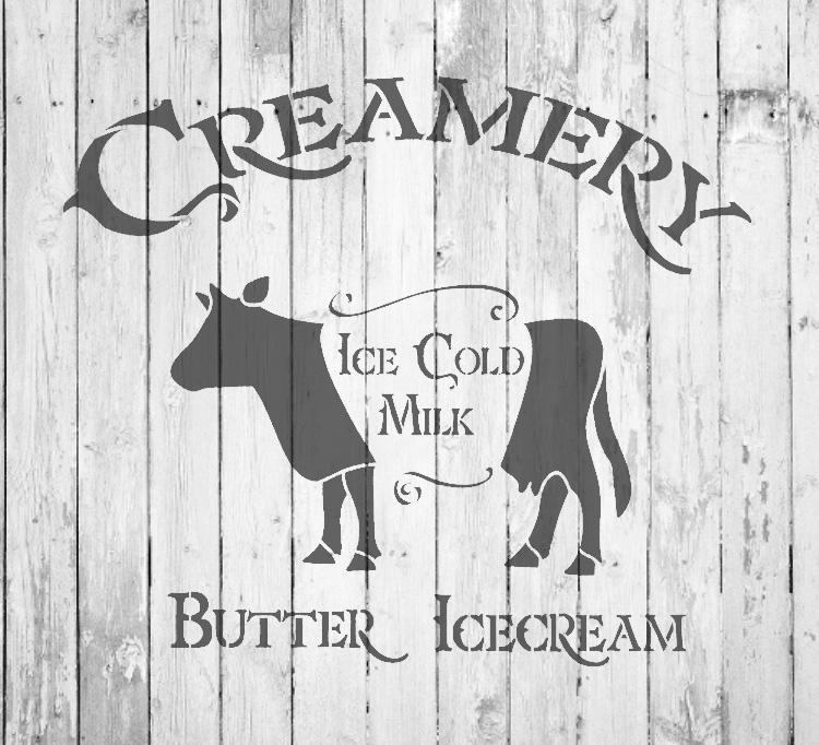 "Creamery - Cow - Word Art Stencil - 15"" x 13"" - STCL2065_2 - by StudioR12"
