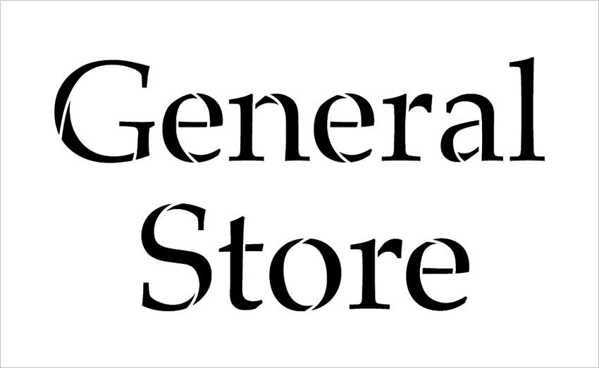 "General Store - Serif - Word Stencil - 20"" x 12"" - STCL2069_3 - by StudioR12"