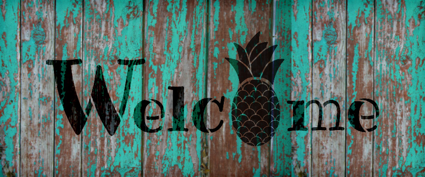 """Welcome - Pineapple - Word Stencil - 16"""" x 7"""" - STCL2071_2 - by StudioR12"""