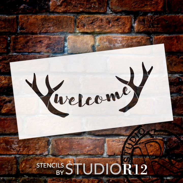 """Welcome - Antlers - Casual Script - Word Art Stencil - 30"""" x 13"""" - STCL2077_5 - by StudioR12"""