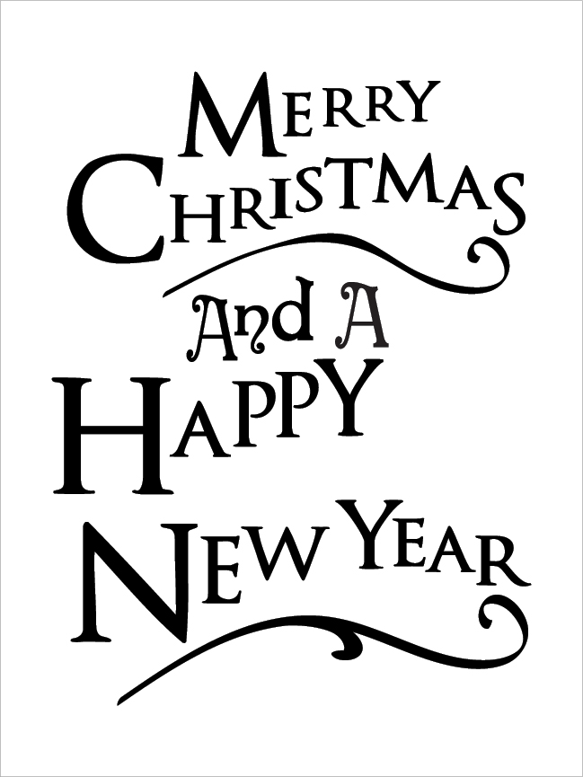 Merry Christmas And Happy New Year - Festive - Word Art Stencil - 16