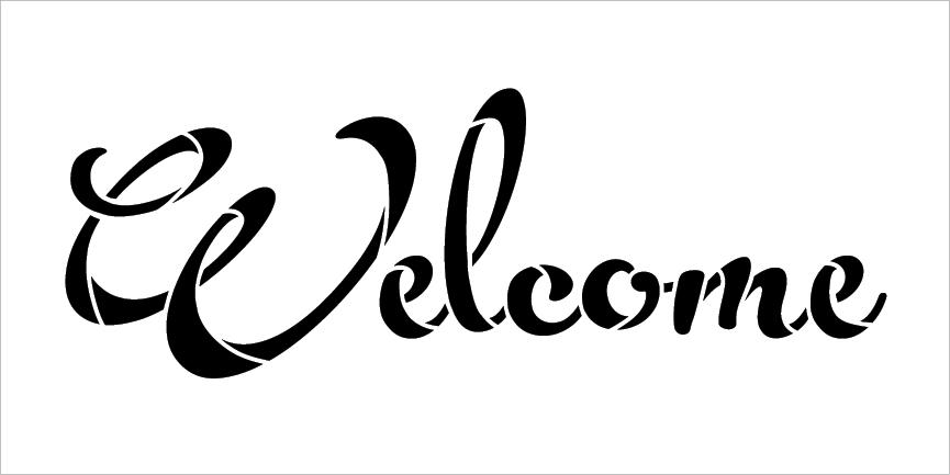 "Welcome - Fun Script - Word Stencil - 30"" x 12"" - STCL2086_5 - by StudioR12"