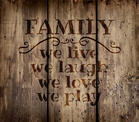 """Family - Word Stencil - 17"""" x 15"""" - STCL1869_4 - by StudioR12"""