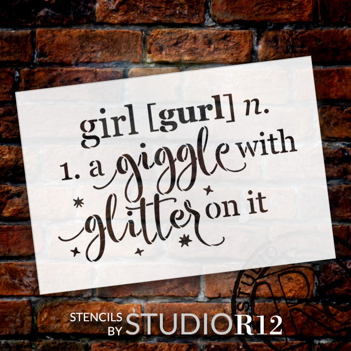 """Girl - Defined - Word Stencil - 16"""" x 11"""" - STCL1868_3 - by StudioR12"""