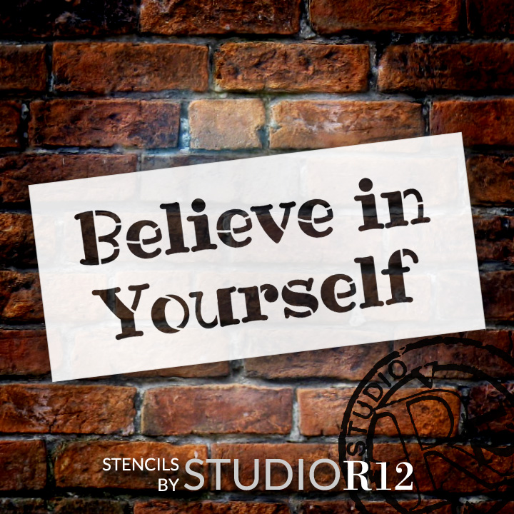 "Believe In Yourself - Fun - Word Stencil - 14"" x 7"" - STCL2094_2 - by StudioR12"