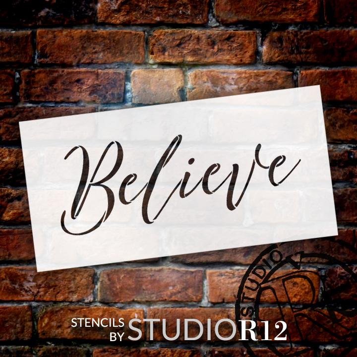 "Believe - Cursive - Word Stencil - 16"" x 7"" - STCL2096_2 - by StudioR12"
