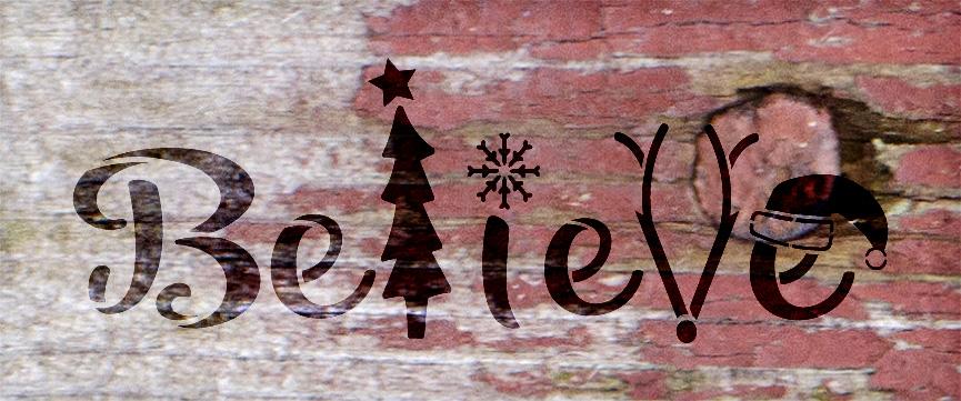 """Believe - Tree, Snowflake, Reindeer, Hat- Word Art Stencil - 20"""" x 8"""" - STCL2098_3 - by StudioR12"""