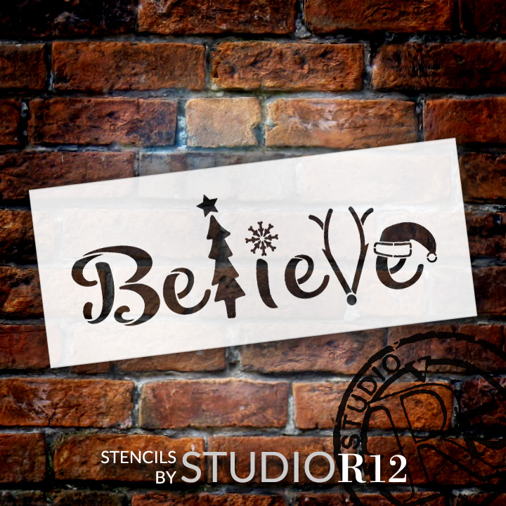 """Believe - Tree, Snowflake, Reindeer, Hat- Word Art Stencil - 24"""" x 10"""" - STCL2098_4 - by StudioR12"""