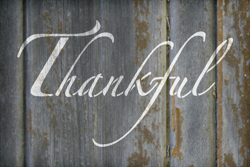 "Thankful - Elegant Script - Word Stencil - 12"" x 8"" - STCL2099_1 - by StudioR12"