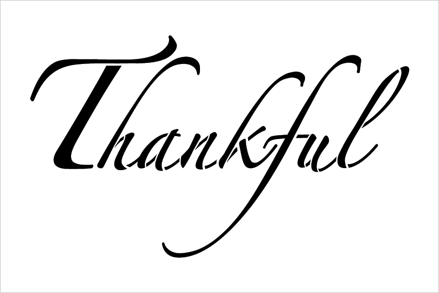 "Thankful - Elegant Script - Word Stencil - 24"" x 15"" - STCL2099_4 - by StudioR12"