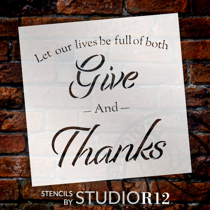 "Full of Both - Give Thanks - Word Stencil - 18"" x 18"" - STCL2100_4 - by StudioR12"