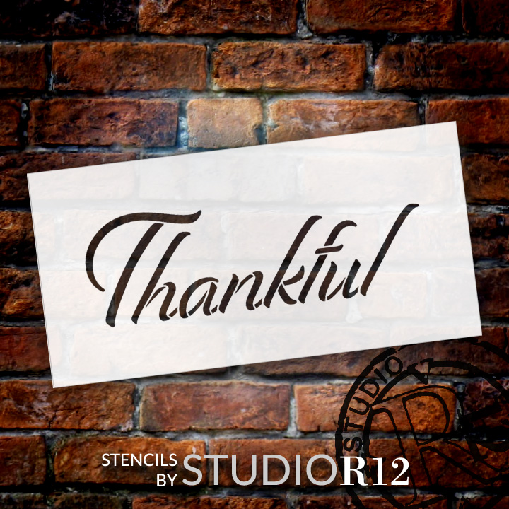 "Thankful - Festive - Word Stencil - 16"" x 7"" - STCL2102_3 - by StudioR12"