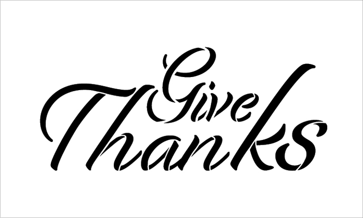 "Give Thanks - Festive - Word Stencil - 16"" x 8"" - STCL2103_3 - by StudioR12"
