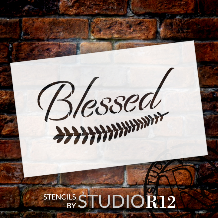 "Blessed - Elegant - Leaf - Word Art Stencil - 12"" x 7"" - STCL2104_2 - by StudioR12"