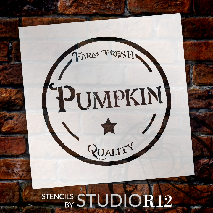"Farm Fresh Pumpkin - Fancy - Word Art Stencil - 18"" x 18"" - STCL2105_4 - by StudioR12"