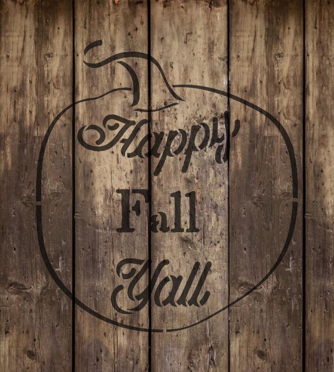 """Happy Fall Ya'll - Pumpkin - Word Art Stencil - 18"""" x 20"""" - STCL2109_4 - by StudioR12"""