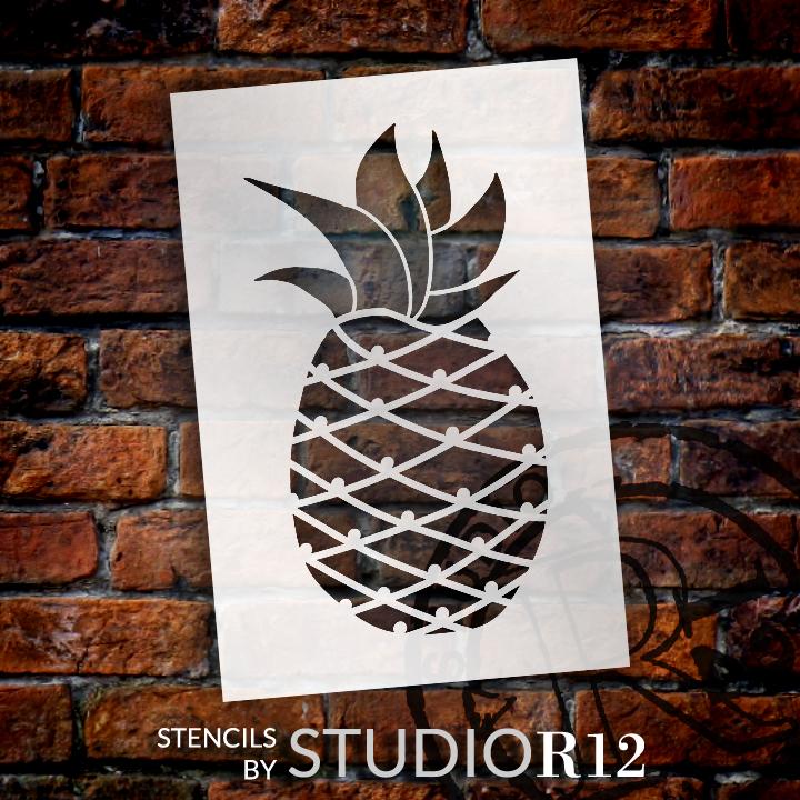 "Pineapple  - Art Stencil - 14"" x 24"" - STCL2116_4 - by StudioR12"